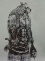 Orc in wolf by DrawingDoom