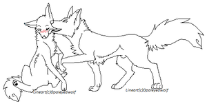 Wolf Couple lineart2 by ProtoSykeLegacy