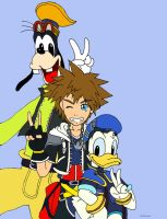 Sora,Donald and Goofy by ss2sonic