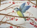 Watercolor bird by luckyfourleafclover