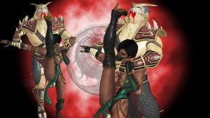 Jade vs Shao Kahn Wallpaper by n1kgor