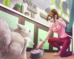 Domestic Nidalee skin by PurpleLemon13