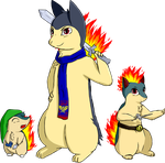 Cyndaquilink, Quilink, and Typhlink by Noerbmu