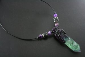 Green and Purple Leaf Fluorite Necklace by ArtfulParadox