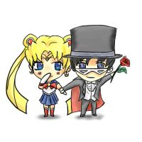 Sailor Moon and Tuxedo Mask chibi by TimTam13