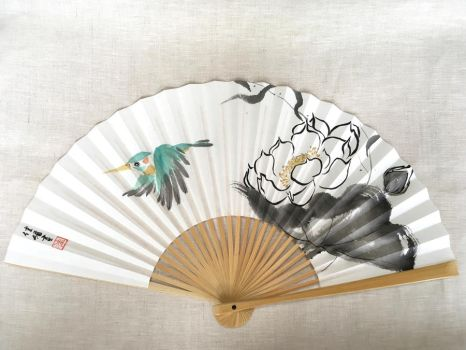 Rocket, hand-painted Japanese fan by catherinejao