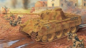 3rd Reich Pz5d Panther D Advance With Troops by PanzerBob