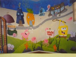 SpongeBob ~ two wall mural by lishlitz