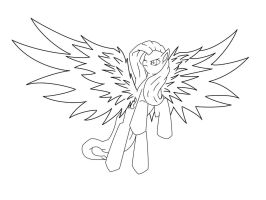 My Epic Pony: Fluttershy Lineart by nothing111111