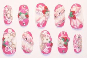 Lacy Strawberry Nails by The-Lady-of-Kuo