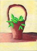 Plant in a Basket - oil pastel by Maan11j