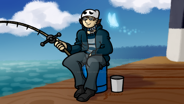 Commission: Dice-King - Fishing at the Dock by GiantPurpleCat