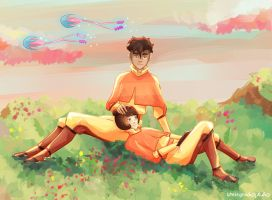 Taking a break - Kai and Jinora by thelegendofzuko