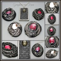 Graphite and Rose Polymer Clay Pendants by MandarinMoon