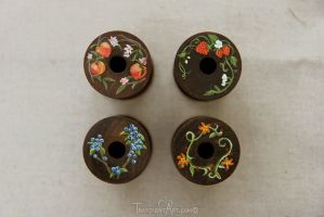 Hand Painted Wooden Spools by TransientArt