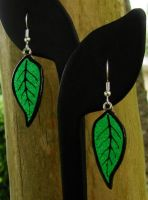 Fused Glass Leaf Earrings by FusedElegance