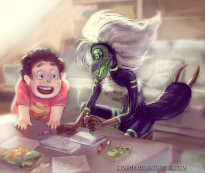Steven and Centipeetle by cinemamind