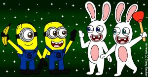 Minions Meet The Rabbids by CaseyDecker