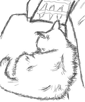 Quick sketch-my cat laying next to me on the couch by debrosi