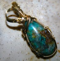 Chrysocolla and quartz in gold by DPBJewelry