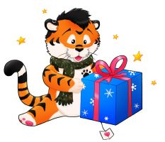 Tiger with a christmas-box by Mutabi