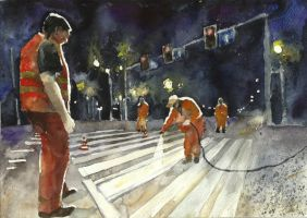 men painting zebra crossing by lemonik6
