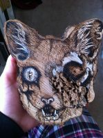 Wood Burning: Zombie Cat by SafetyPins16