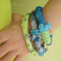 Blue Lime Fabric Bangles by popnicute