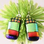 Rainbow Glass Earrings by GlassArtSeasons