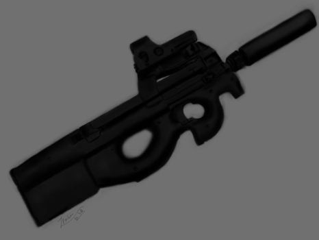 P90 smg with silencer,Epic Smg by D-Itachi