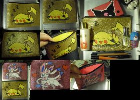 Cute Hand Painted Pikachu and Ninfia Glitter bag by SailorUsagiChan