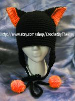 Black Cat beanie (FOR SALE) by DarkwingFrog