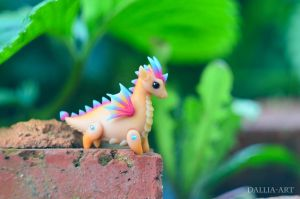 Ball-jointed dragon - beige, pink, blue by dallia-art