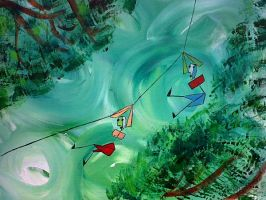 Alberto and Jeff escape by Zipwire by klangmoth
