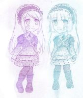 Chibi Violette and Hortense by zoeymewmew13