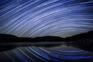Star Trails over my lake by ejmcgowan