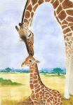 Giraffe with baby. by LaLuna5023