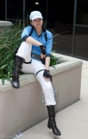 BSAA Jill Valentine Cosplay (Moment in thought) by SapphireEagle