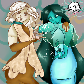 Champagne and Teal Diamond by Sniffy678578