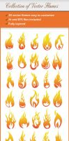 Collection Of Vector Flames by renefranceschi