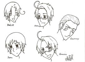 Hetalia sketches by ajbluesox