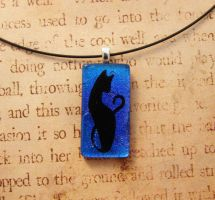 Fused Glass Cat Blue by FusedElegance