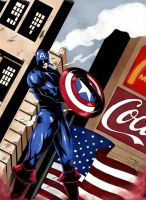 Captain America By Crazydraftsman-coloring by triple--eight