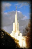 Jordan River LDS Temple Evenin by houstonryan