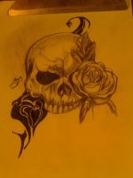 another skull with rose by vincinero