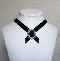 Onyx medallion choker by Lincey
