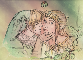 Link and Zelda - mistletoe by Silent--Haze
