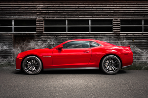 Red Camaro ZL1 Side by AmericanMuscle