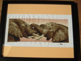 Elephants Hug Cross-Stitch by Santian69
