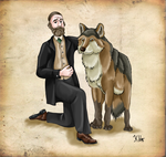 Joseph Leidy and his Dire Wolf by Pelycosaur24